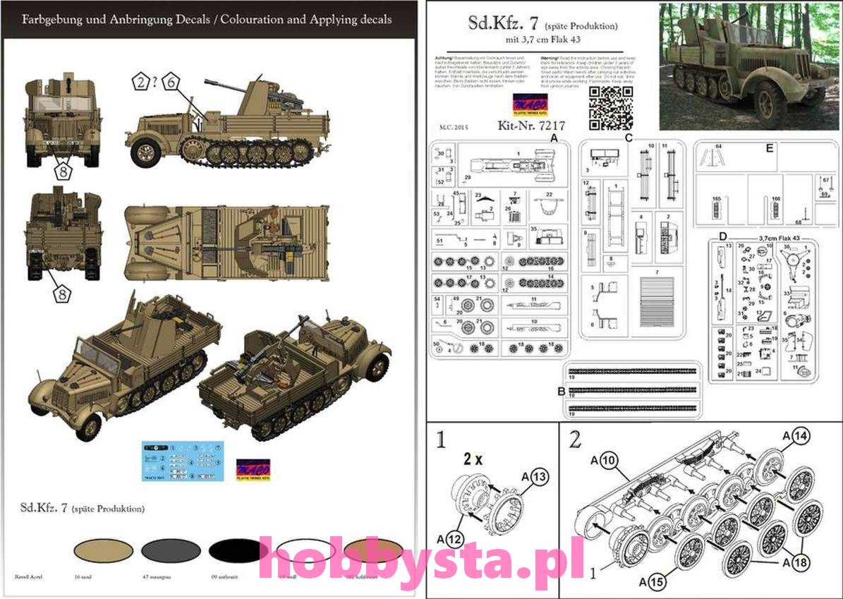 sd kfz 7 final variant with 3 7 cm flak 43 maco 7217 ci gniki. Black Bedroom Furniture Sets. Home Design Ideas